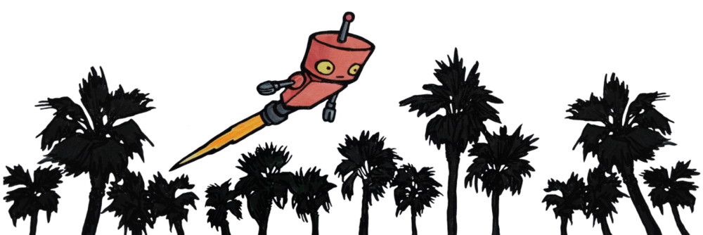 Shop inside the robot. Windy clipart palm tree