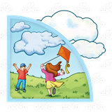 Windy clipart scene. With clouds