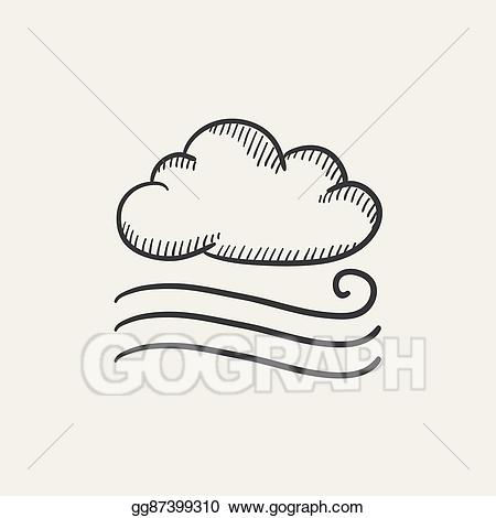 Vector stock cloud icon. Windy clipart sketch