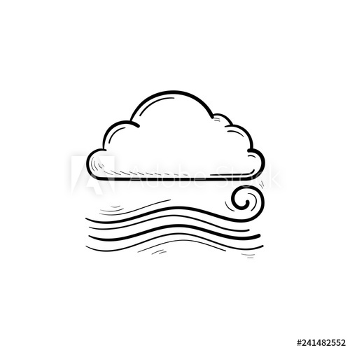 Cloudy and the wind. Windy clipart sketch
