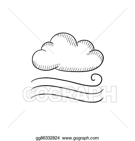 Windy clipart sketch. Vector stock cloud icon
