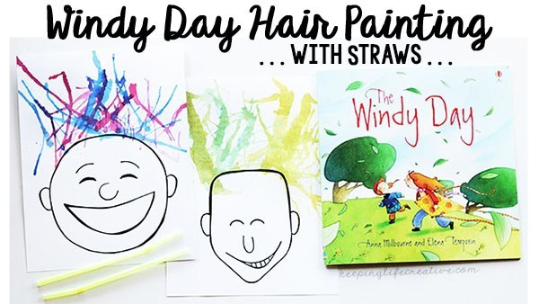 Hair painting with straws. Windy clipart spring day