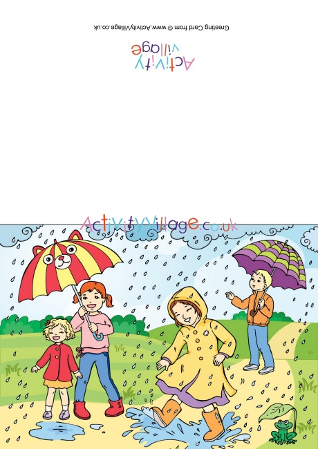 Rainy card . Windy clipart stormy day