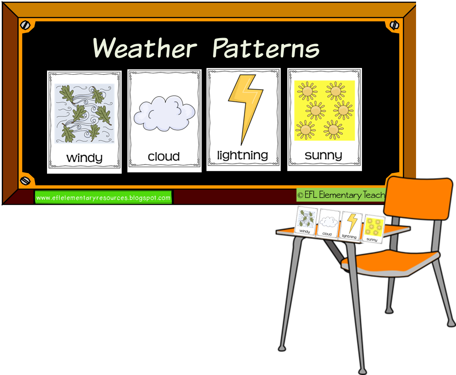 Efl elementary teachers flashcards. Windy clipart weather word