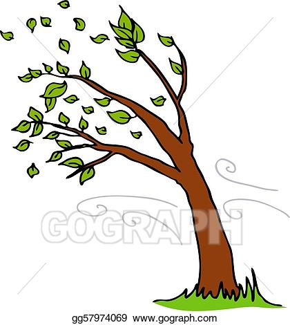 Windy clipart wind blown tree. Vector art blowing leaves