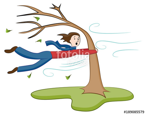 Windy clipart wind blown tree. Man holding on to