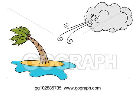 Vector illustration day island. Windy clipart wind blown tree