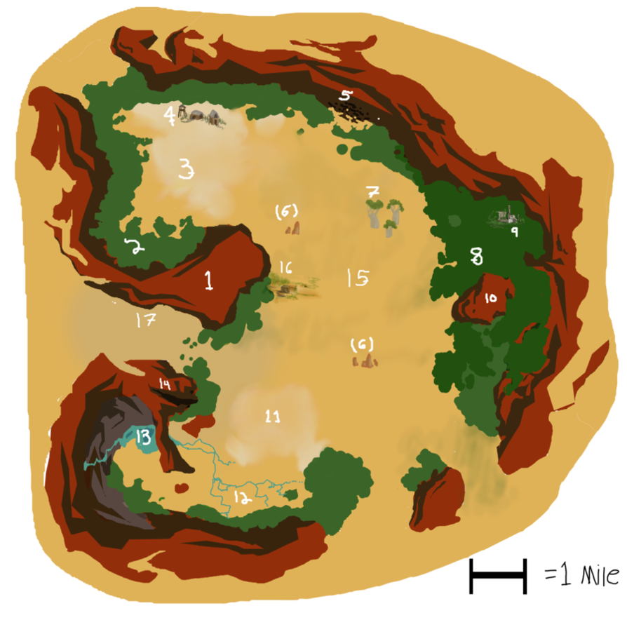 Red cliff valley map. Windy clipart wind erosion