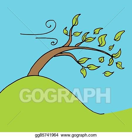 Clip art vector leaves. Windy clipart windy day