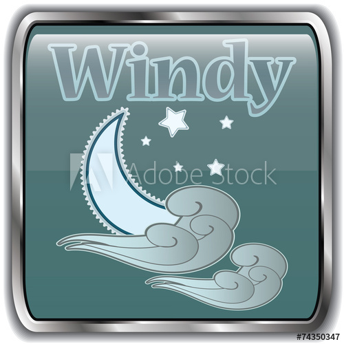 Weather icon with text. Windy clipart windy night
