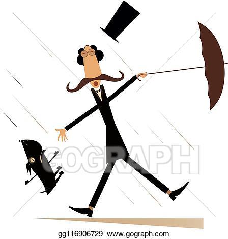 Windy clipart windy umbrella. Vector and rainy day