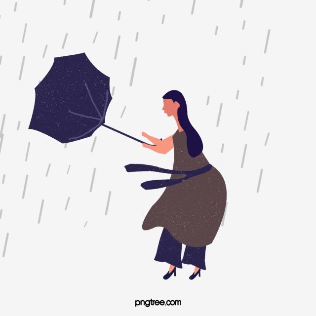 Windy clipart windy umbrella. Rainy woman illustration cartoon
