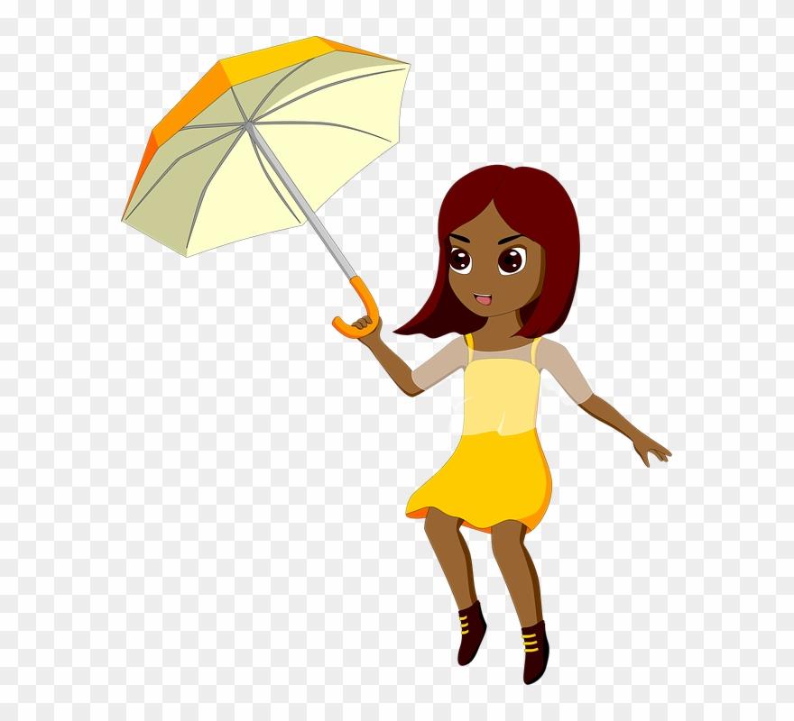 Girl wind weather menina. Windy clipart windy umbrella