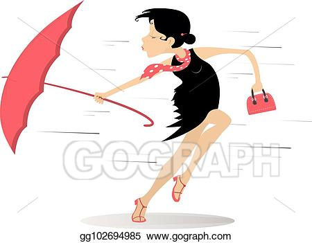 Vector art weather young. Windy clipart woman
