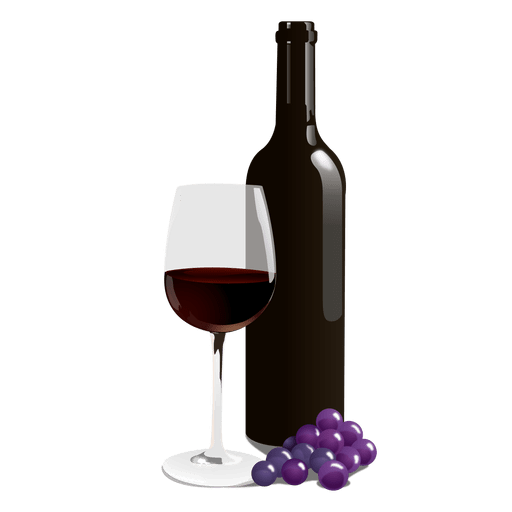 Wine bottle and glass png. Transparent svg vector