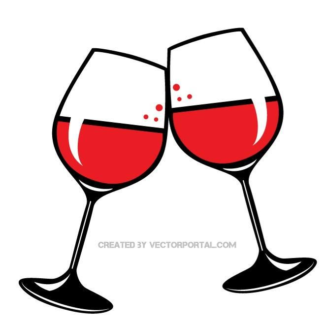 Glasses of red vector. Wine clipart