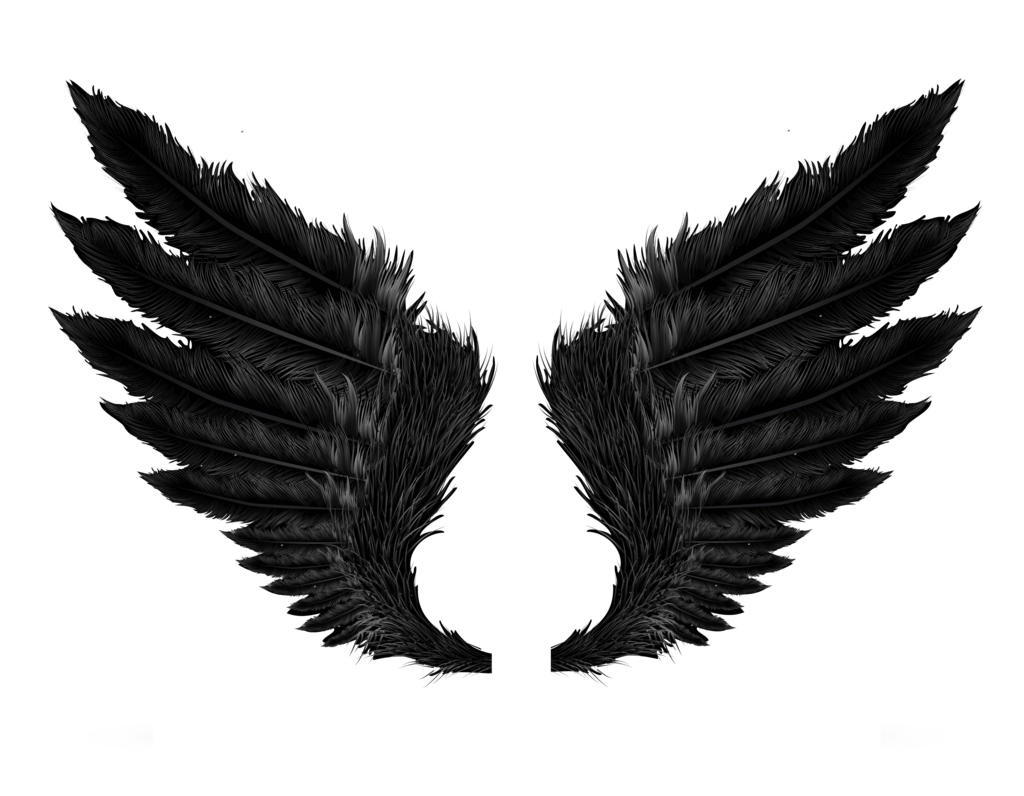 Black angel wings transparent. Wing clipart angel's wing