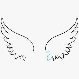 Angel simple drawing free. Wing clipart animal wing