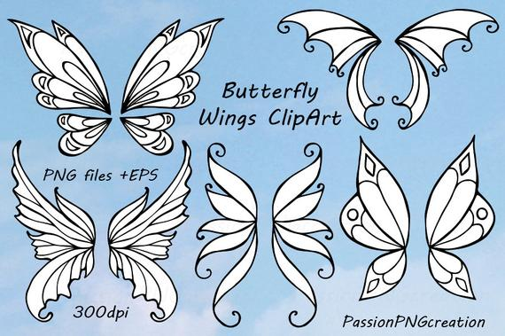 Butterfly wings doodle clip. Wing clipart animal wing
