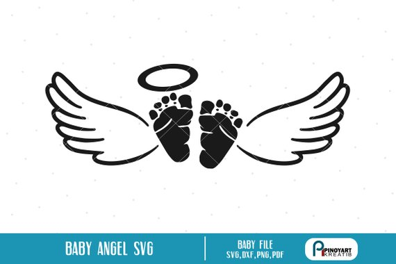 Memorial svg . Wing clipart baby angel