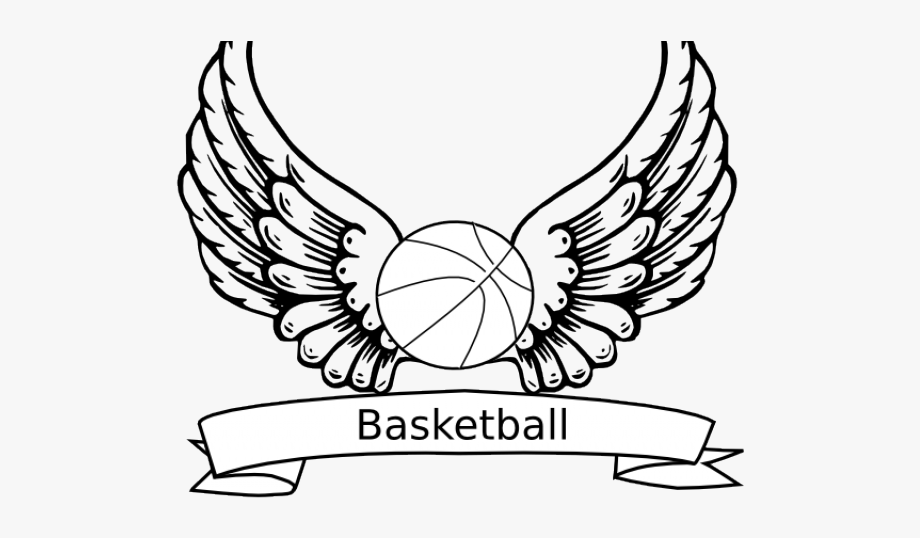 Drawn fire angel wings. Wing clipart basketball