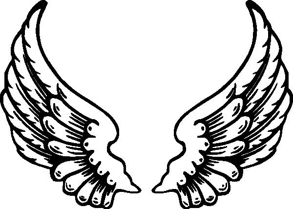 Christian symbol black line. Wing clipart bird wing
