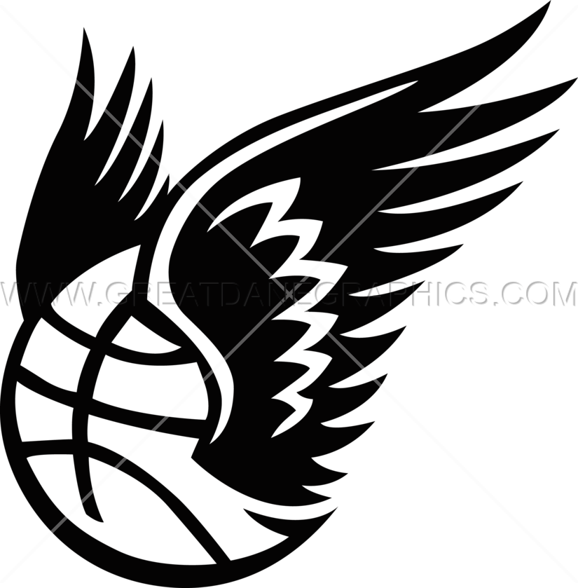 Basketball with wings production. Wing clipart bird wing
