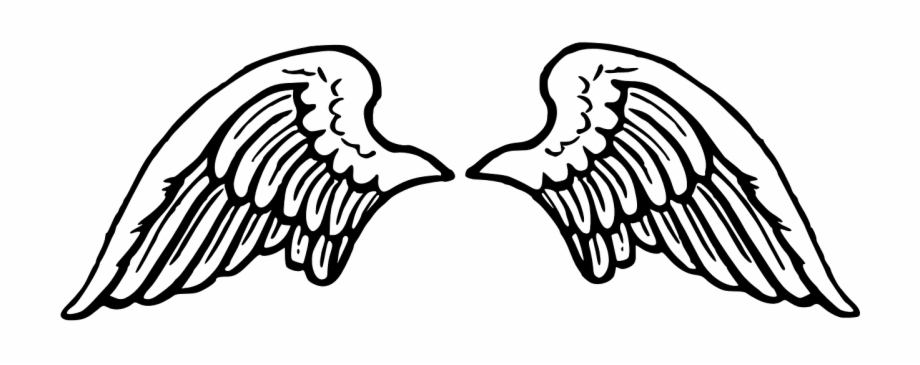 Spread angel flying peace. Wing clipart black and white