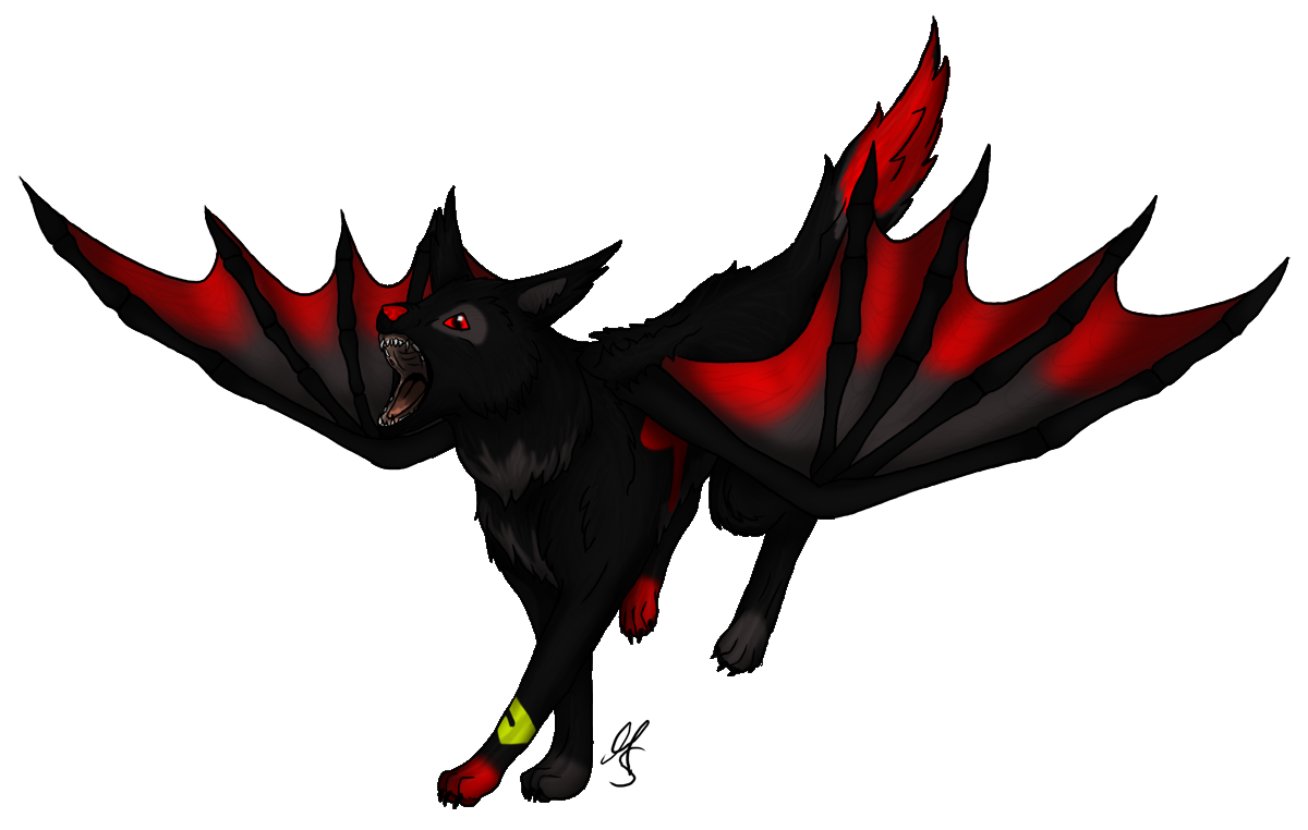 Wing clipart cartoon. Anime wolf with wings