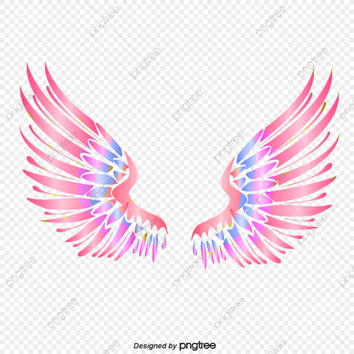 Wing clipart colorful. Angel wings feather hand