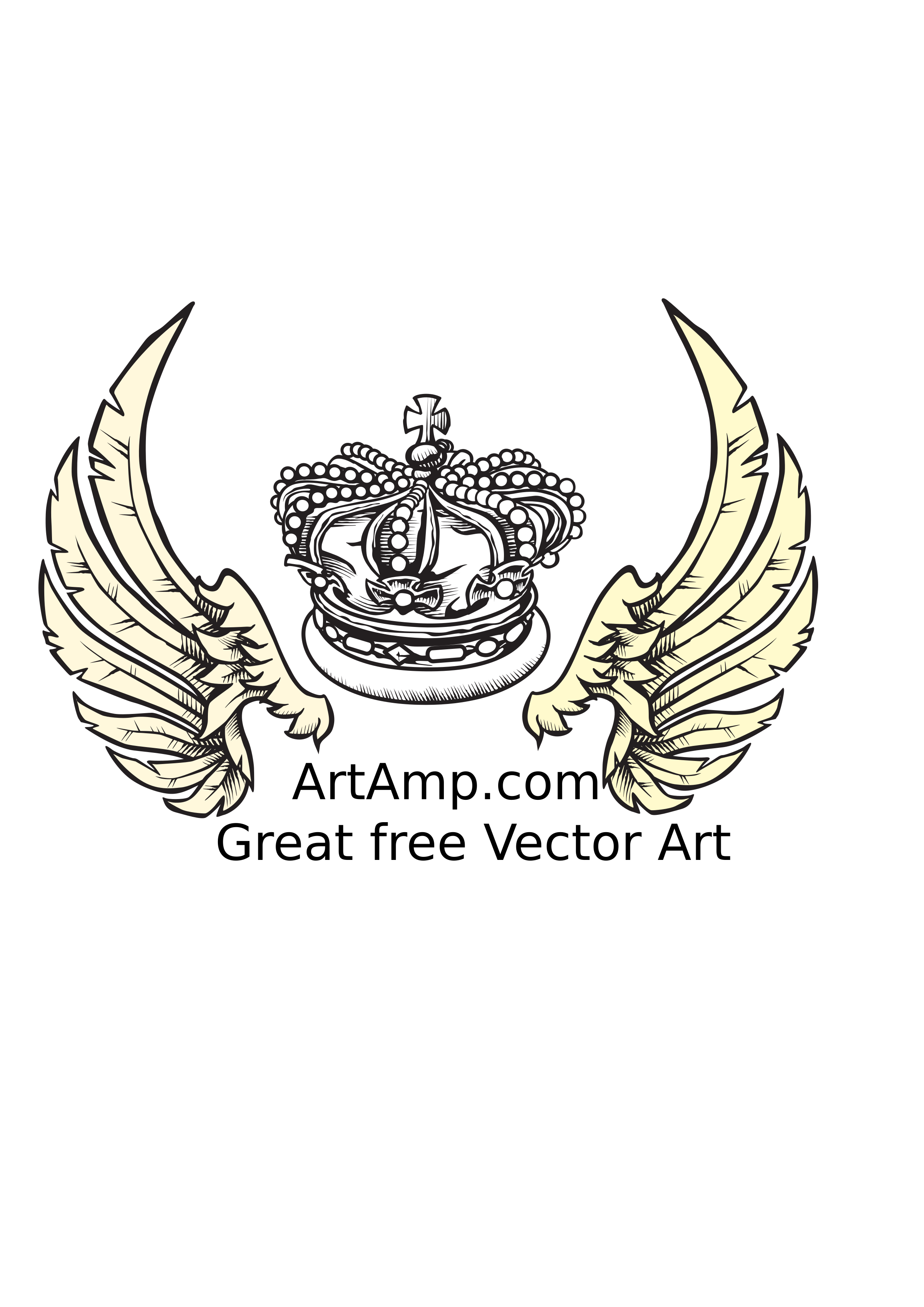 Wing clipart crown. And wings herolday elements