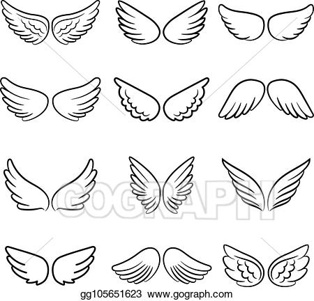 Vector stock angel wings. Wing clipart cute