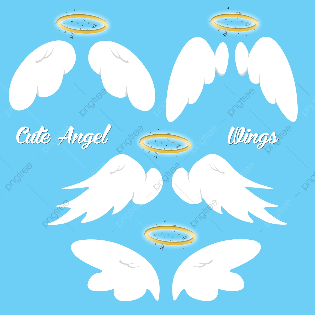 Wing clipart cute. Angel wings set vector