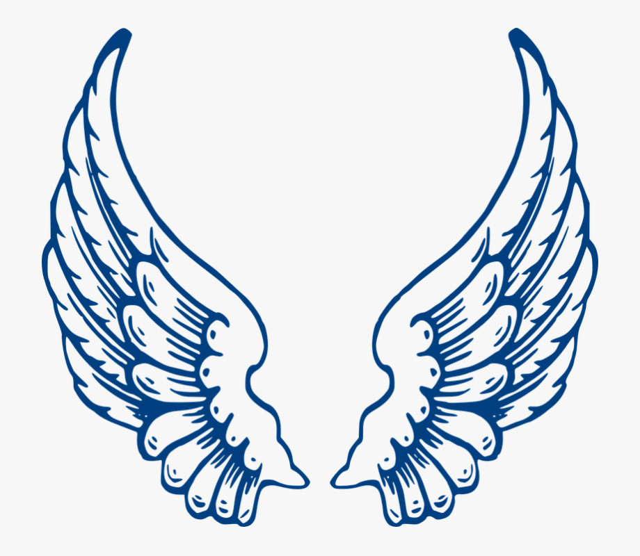 Angel wings blue feathers. Wing clipart feather wing