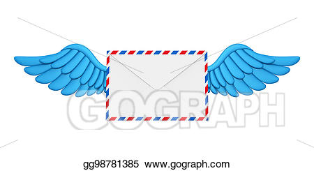 Wing clipart flying. Stock illustrations wings mail