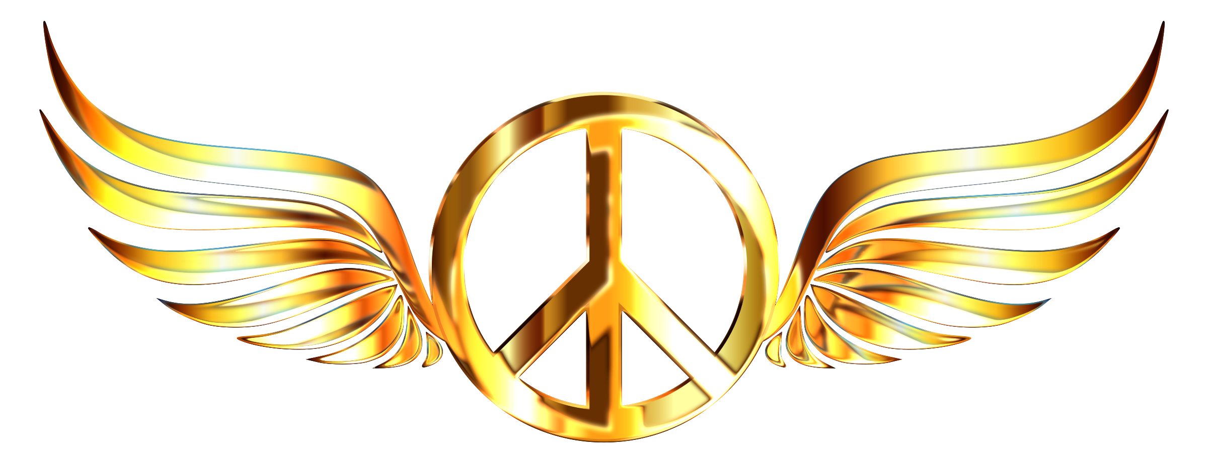 Peace sign wings enhanced. Wing clipart gold