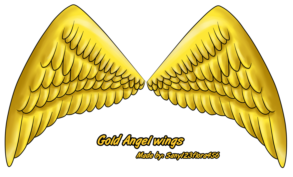 Angel wings by xxsunny. Wing clipart gold