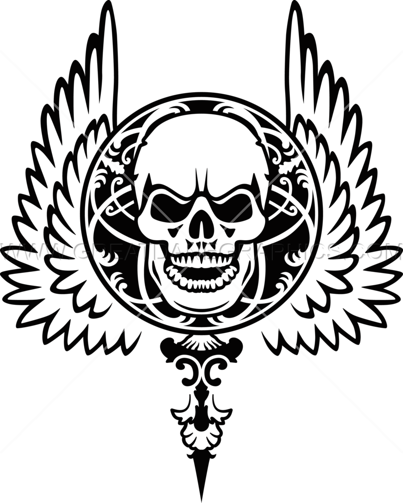 Skull with wings production. Wing clipart gothic