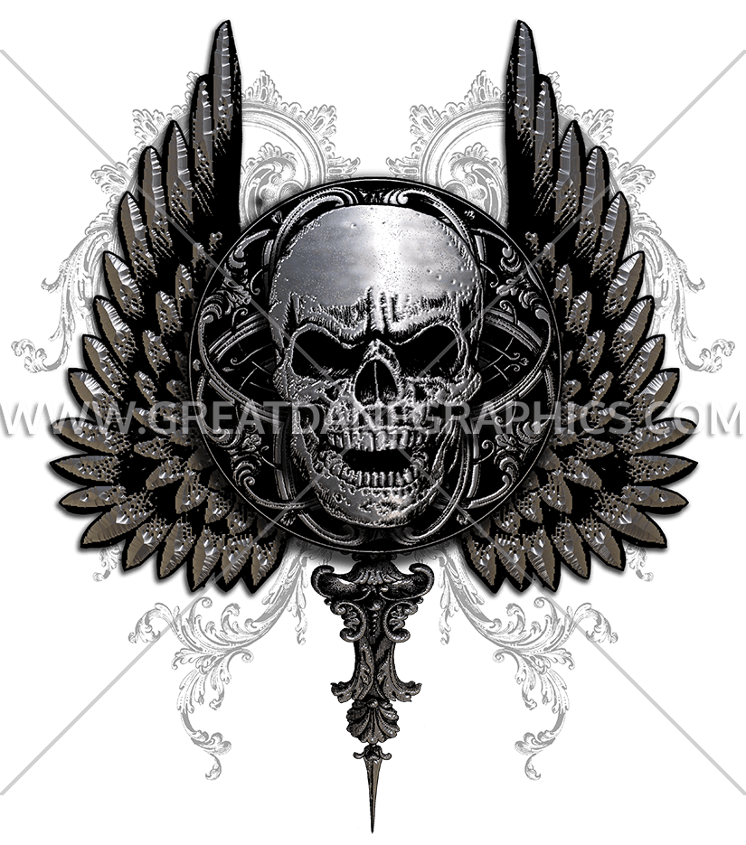 Wing clipart gothic. Skull with wings production