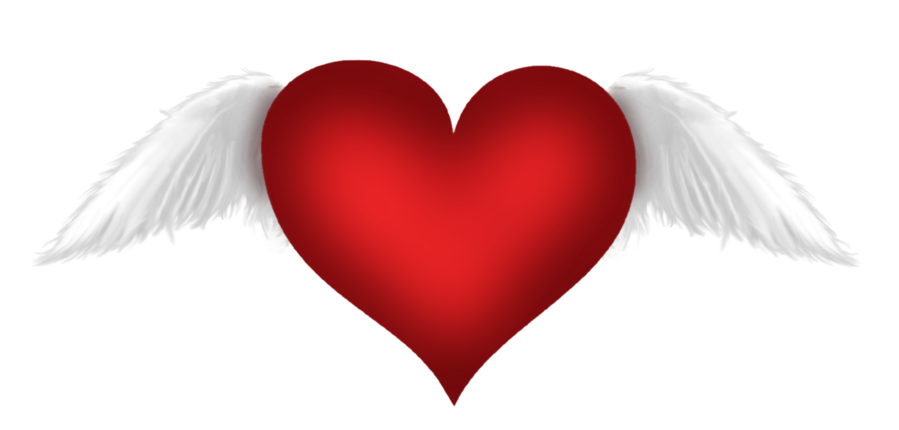 Red with wings transparent. Wing clipart heart