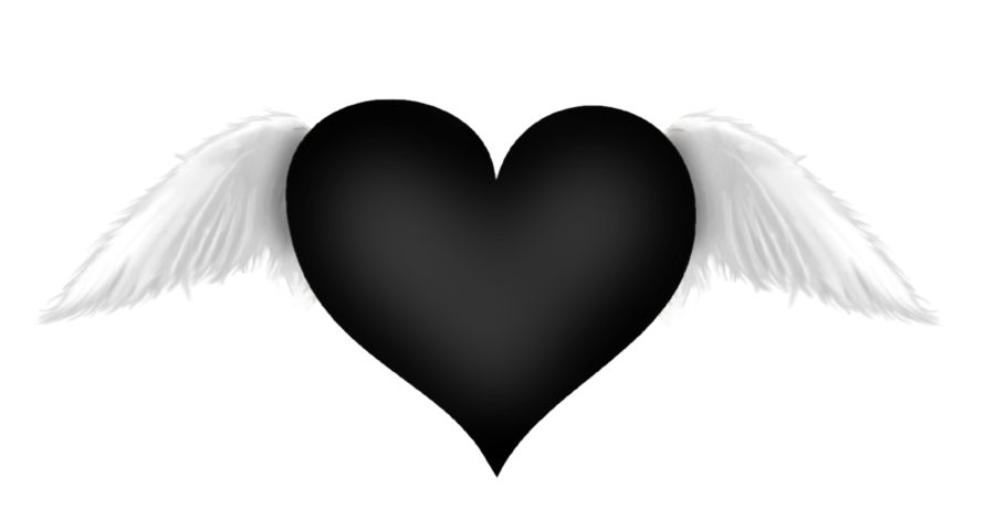 Black hearts png. Heart with wings transparent