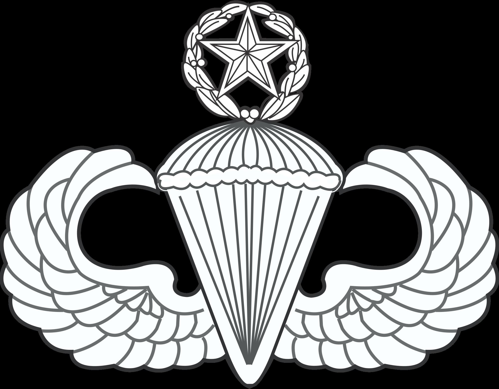 File master parachutist badge. Wing clipart jumpmaster