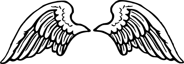 Wing clipart line art. Peterm angel wings clip