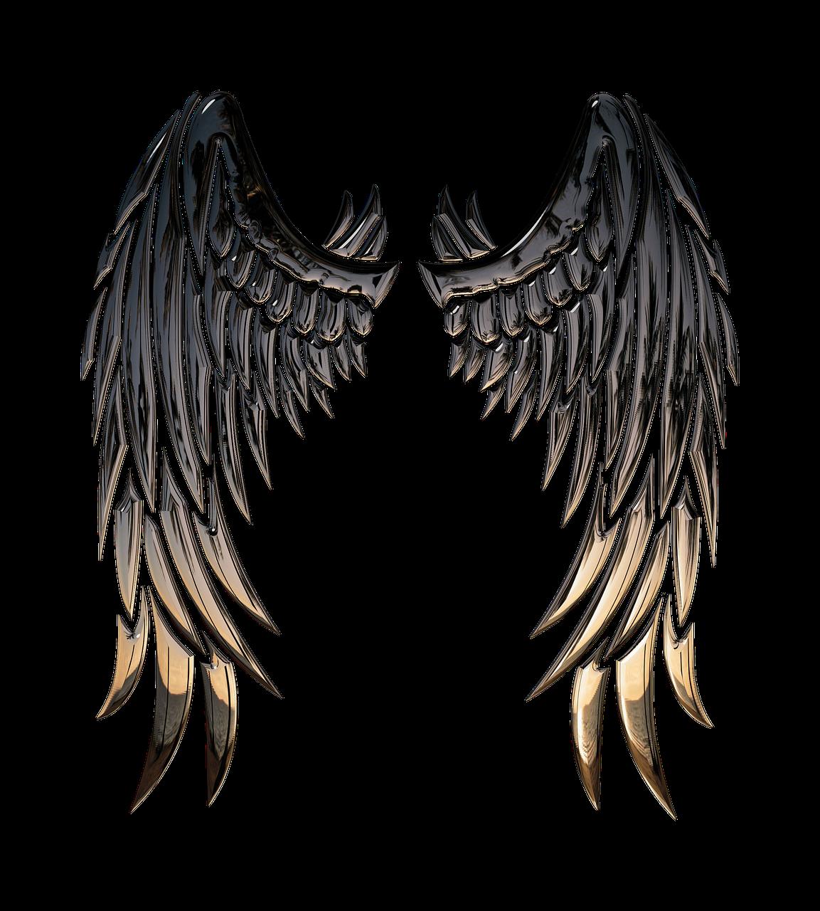 Buffalo angel stencil clip. Wing clipart metal