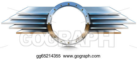 Drawing metallic porthole with. Wing clipart metal