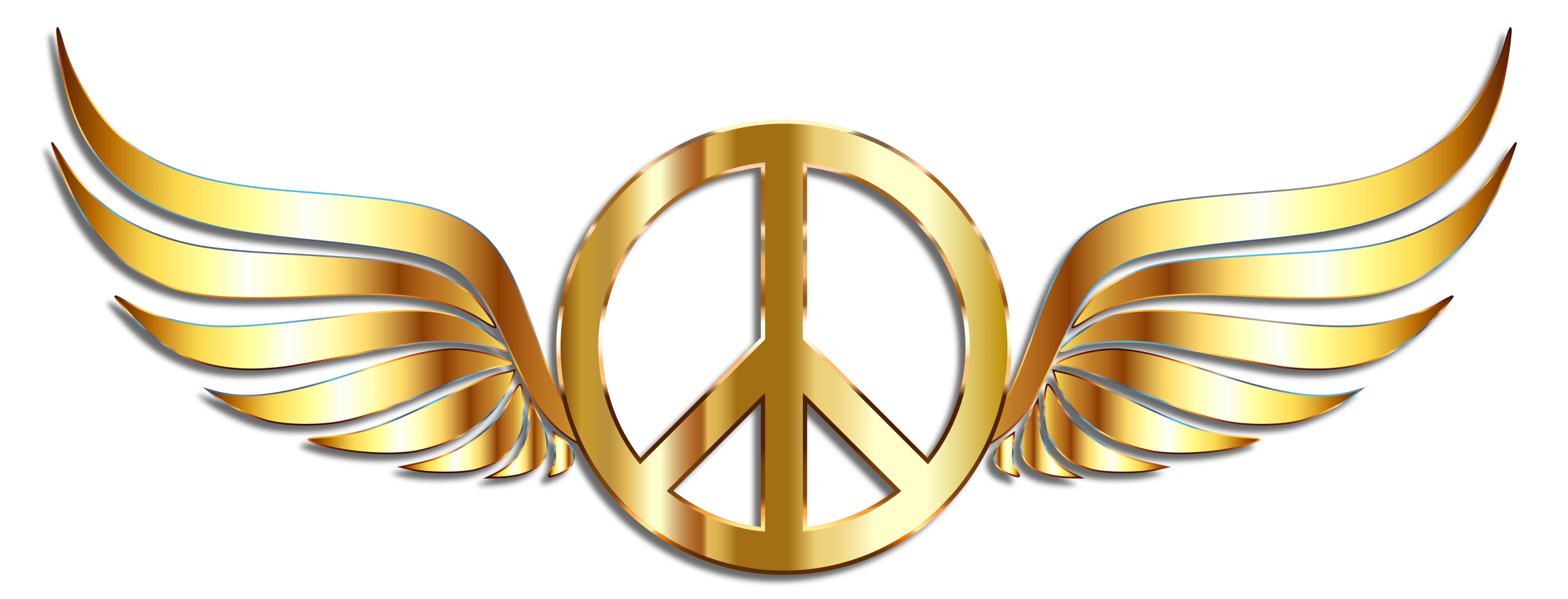 Wing clipart metal. Gold peace sign wings