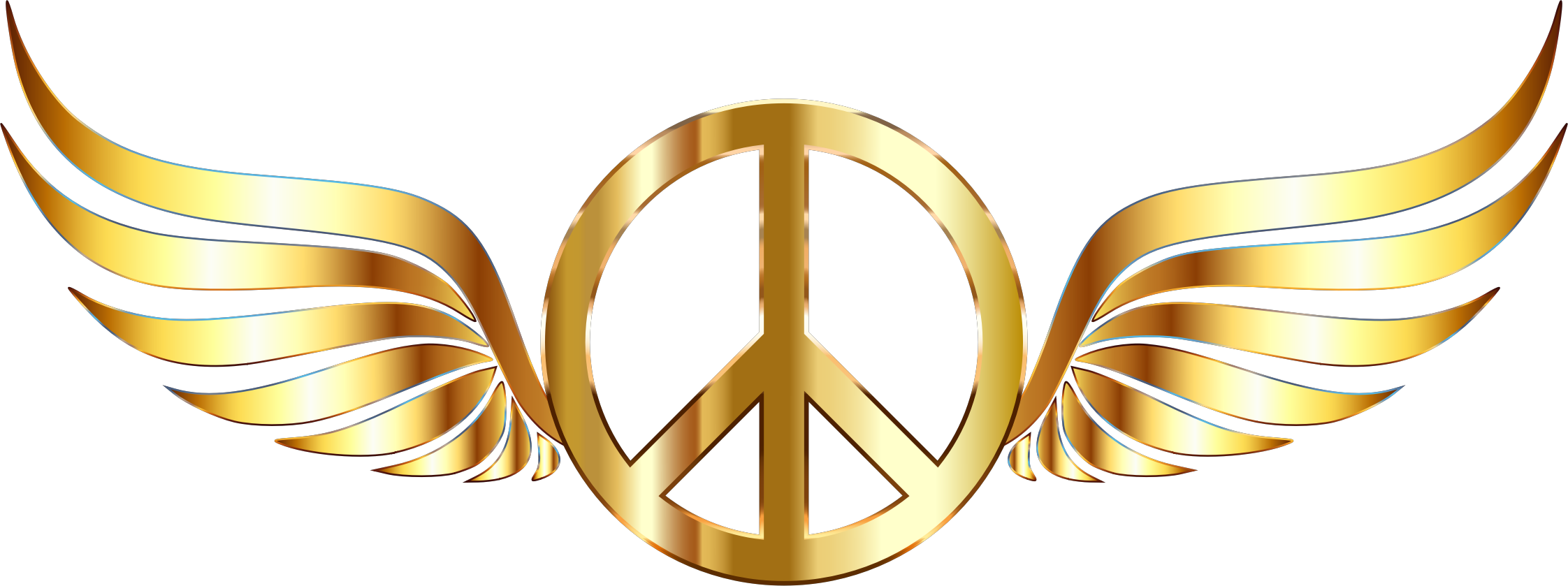 Gold peace sign wings. Wing clipart metal