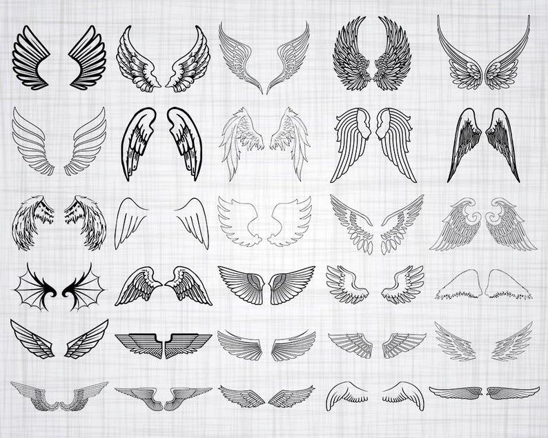 Wing clipart outline. Wings svg bundle cut