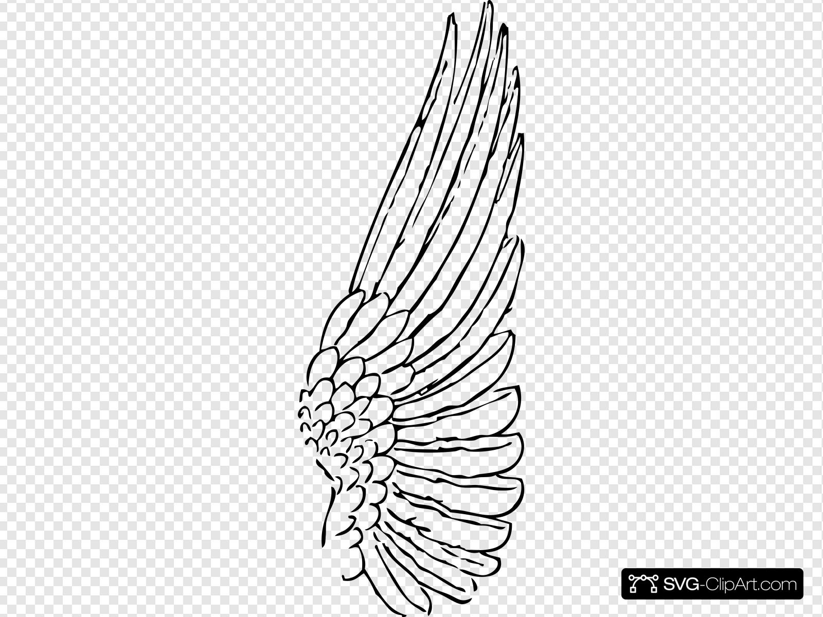Clip art icon and. Wing clipart outline