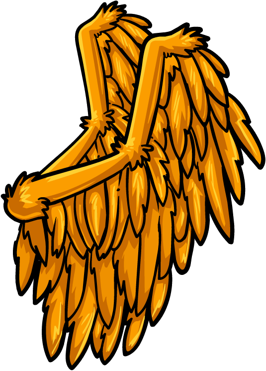 Golden wings club penguin. Wing clipart pegasus wing